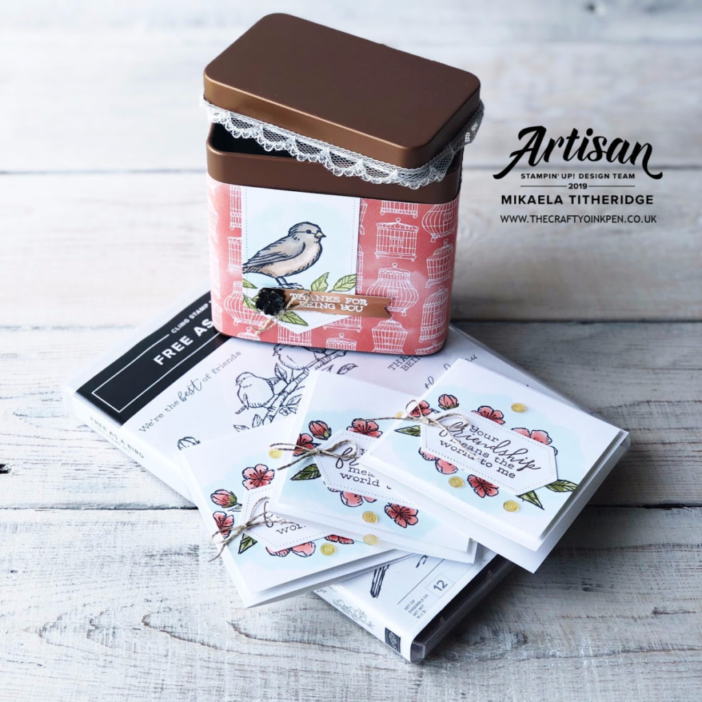 Round #24 CASE the Catalogue. Free as a Bird Copper Tin mini Card set. 3 x 3 cards by Artisan Design Team Member 2019, Mikaela Titheridge, UK Independent Stampin' Up! Demonstrator, The Crafty oINK Pen. Supplies available through my online store 24/7