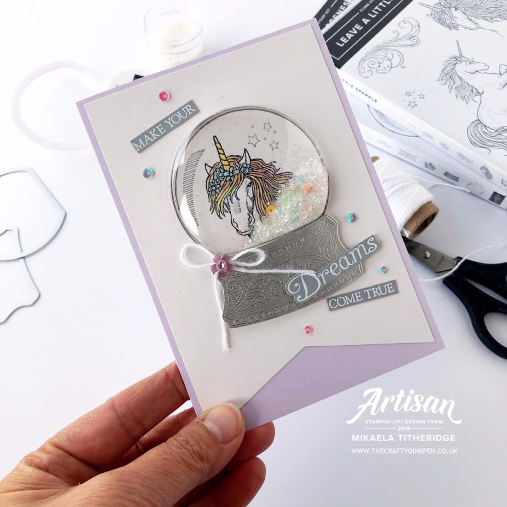 Unicorns Leave a Little Sparkle inside a Still Scenes Snow Globe by Artisan Design Team Member 2019, Mikaela Titheridge, UK Independent Stampin' Up! Demonstrator, The Crafty oINK Pen. Supplies available through my online store 24/7