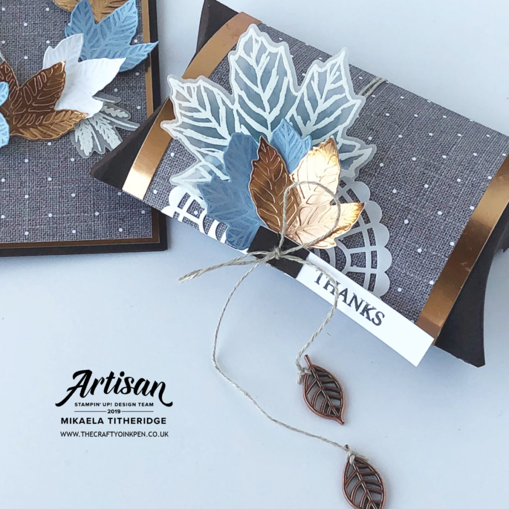 Autumnal Leaves with Gather Together in Blue and Copper. Heat Embossing and Dry Embossing by Artisan Design Team Member 2019, Mikaela Titheridge, UK Independent Stampin' Up! Demonstrator, The Crafty oINK Pen. Supplies available through my online store 24/7