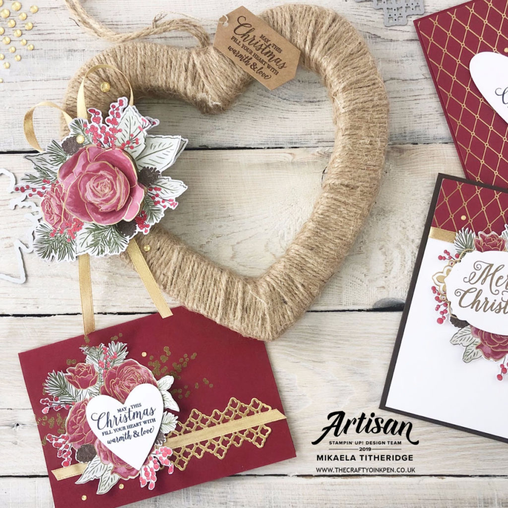 Christmastime is Here Suite and a selection of Christmas love cards and a heart shaped gift by Artisan Design Team Member 2019, Mikaela Titheridge, UK Independent Stampin' Up! Demonstrator, The Crafty oINK Pen. Supplies available through my online store 24/7