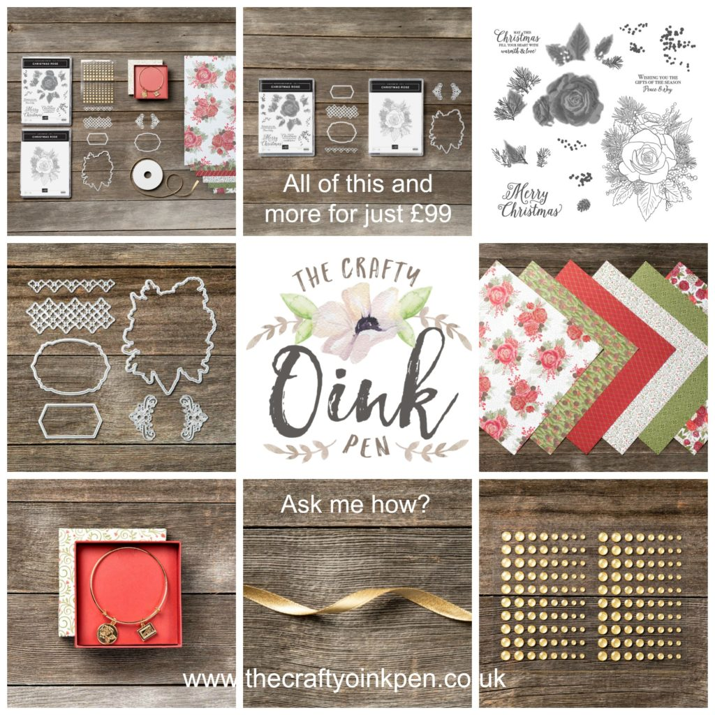 Christmastime is Here Suite with the Christmas Rose and Rose Dies available for Demonstrators from 1st October 2019 or as part of your Starter kit from this date when you sign up with Artisan Design Team Member 2019, Mikaela Titheridge, UK Independent Stampin' Up! Demonstrator, The Crafty oINK Pen. Alternatively, you can purchase through my online store, 24/7, from 1st November 2019