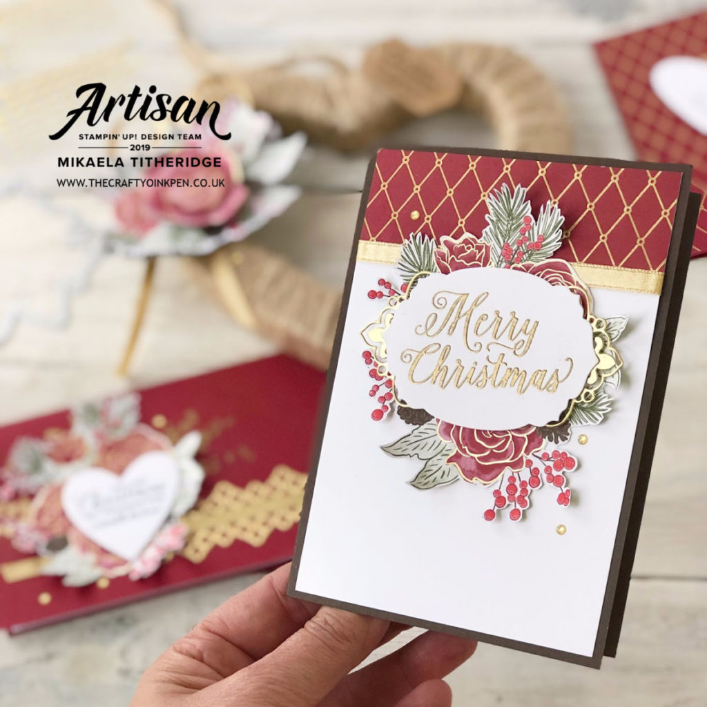 Christmastime is Here for some Christmas Cards of Love and a Heart Shaped Gift Wreath with Decoupage Embellishment by Artisan Design Team Member 2019, Mikaela Titheridge, UK Independent Stampin' Up! Demonstrator, The Crafty oINK Pen. Supplies available through my online store 24/7 for these products from 1st November to Customers and 1st October 2019 to Demonstrators