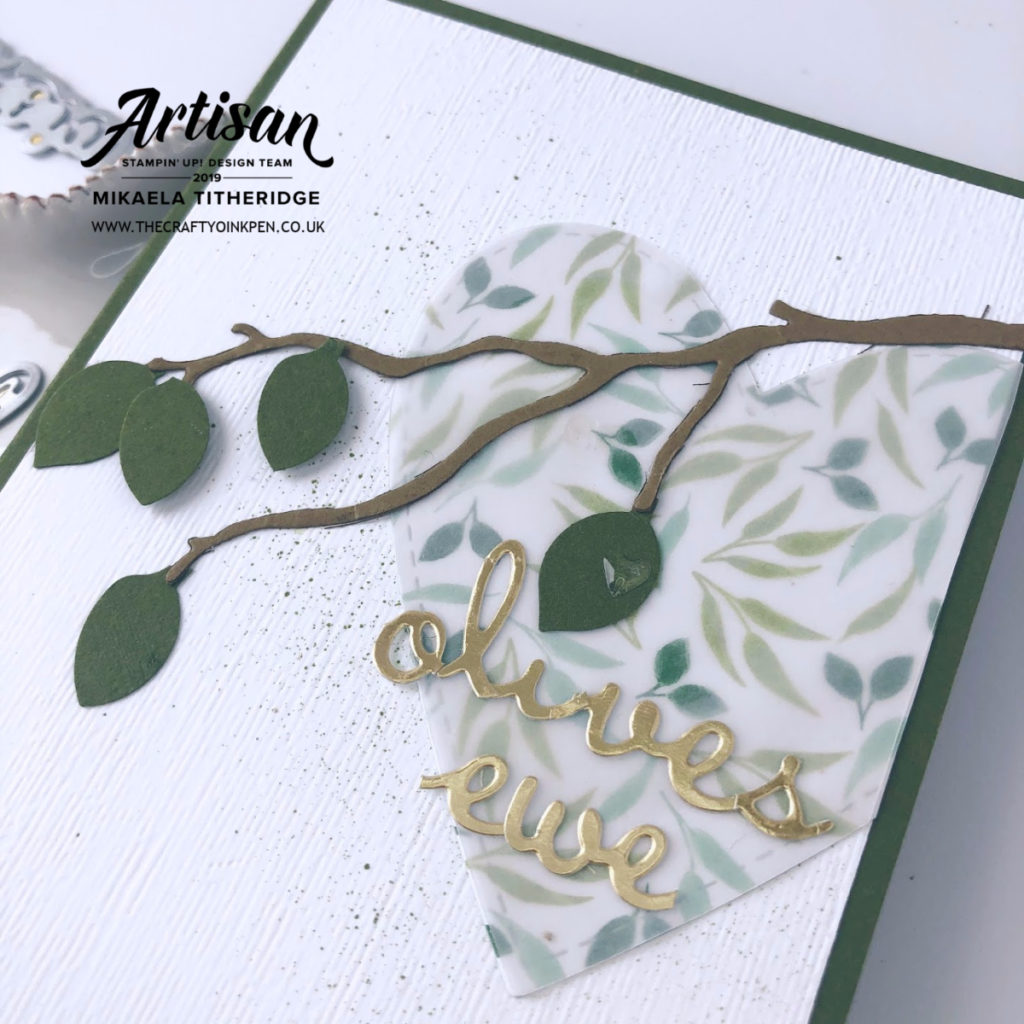 Olives Ewe Wedding Anniversary Card using Well Written, Stitched be Mine and Seasonal Layers Dies, plus some clever Leaf Punch Olives by Artisan Design Team Member 2019, Mikaela Titheridge, UK Independent Stampin' Up! Demonstrator, The Crafty oINK Pen. Supplies available through my online store 24/7