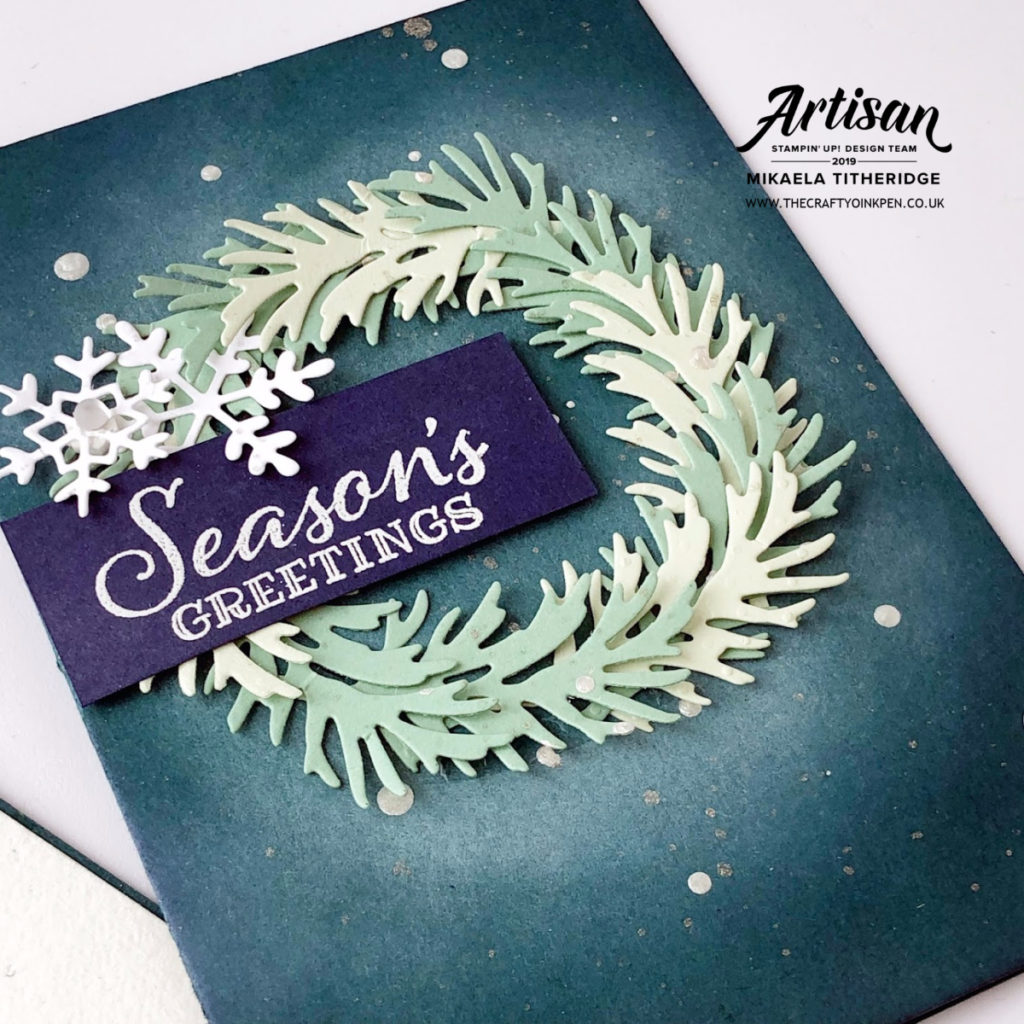 Peaceful Boughs Papercraft Class, Huntingdon, Cambridgeshire, using Emboss Resist, Sponging, Watercolouring and Die Cutting by Artisan Design Team Member 2019, Mikaela Titheridge, UK Independent Stampin' Up! Demonstrator, The Crafty oINK Pen. Supplies available through my online store 24/7
