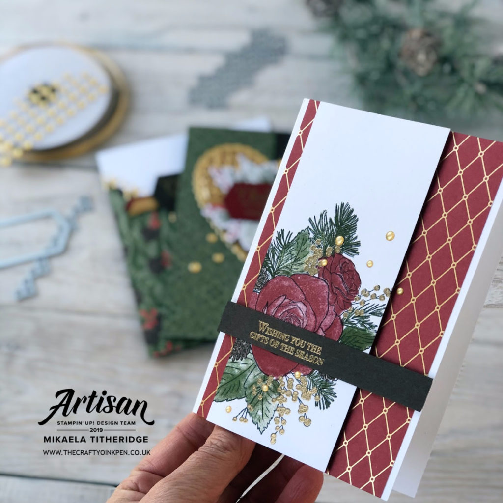 Available 1st November 2019 for a Limited Time Only, Christmastime is Here Artisan Design Team Blog Hop. The Suite Launches today and these cards are made by Artisan Design Team Member 2019, Mikaela Titheridge, UK Independent Stampin' Up! Demonstrator, The Crafty oINK Pen. Supplies available through my online store 24/7