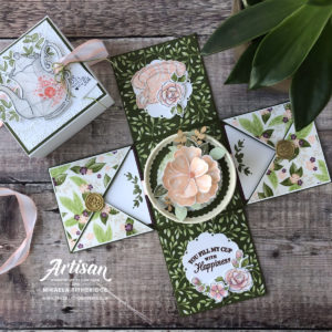Exploding Gift Box by Artisan Design Team Member 2019, Mikaela Titheridge, UK Independent Stampin' Up! Demonstrator, The Crafty oINK Pen. Supplies available through my online store 24/7