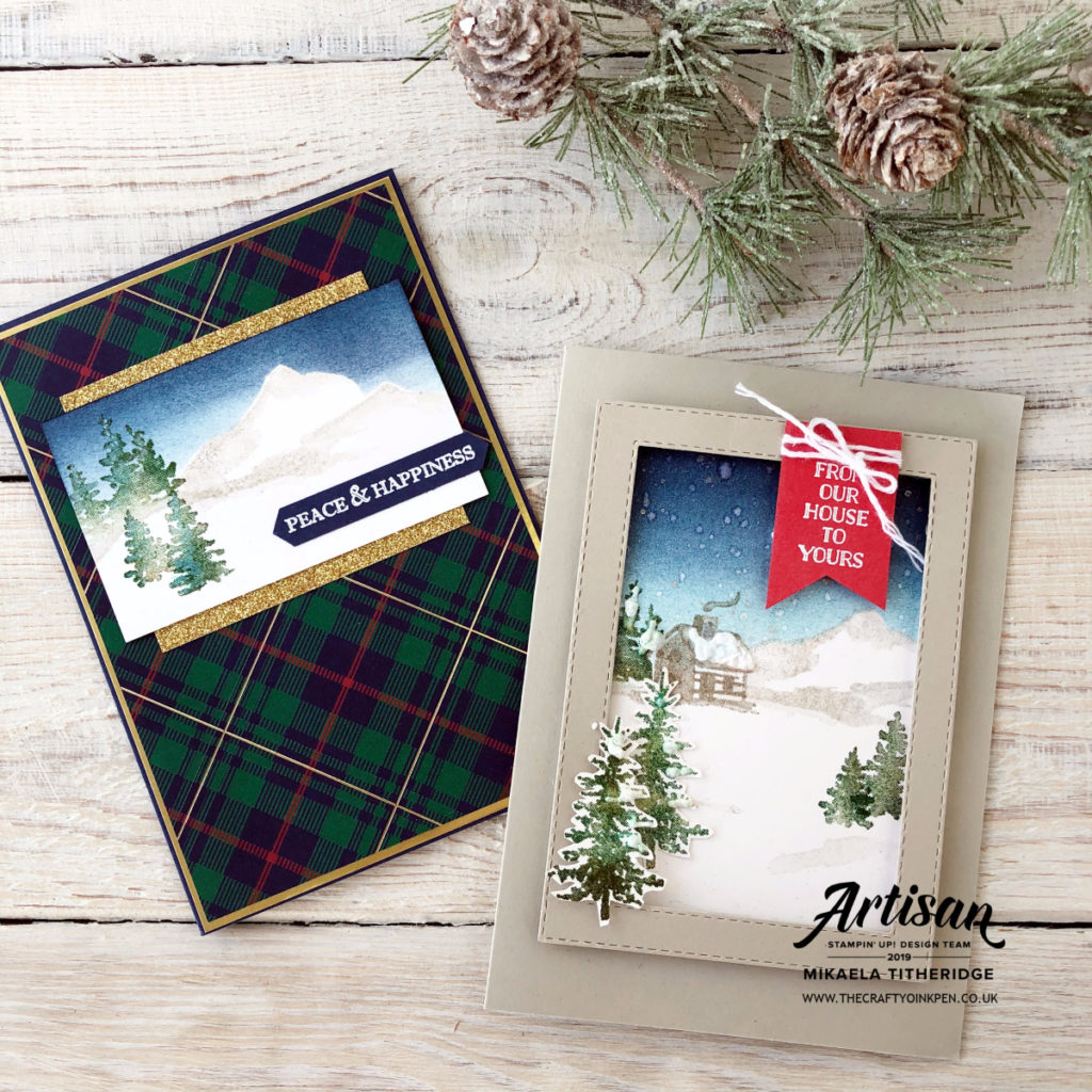 Snow Front Christmas Cards for my Facebook Live by Artisan Design Team Member 2019, Mikaela Titheridge, UK Independent Stampin' Up! Demonstrator, The Crafty oINK Pen. Supplies available through my online store 24/7