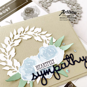 First Frost Sympathy Wreath Card by Artisan Design Team Member 2019, Mikaela Titheridge, UK Independent Stampin' Up! Demonstrator, The Crafty oINK Pen. Supplies available through my online store 24/7