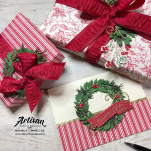 Toile Tidings Gift Packaging and Wreath Card by Artisan Design Team Member 2019, Mikaela Titheridge, UK Independent Stampin' Up! Demonstrator, The Crafty oINK Pen. Supplies available through my online store 24/7