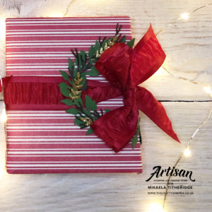 Toile Tidings Gift Wrap / packaging with Wreath embellishment by Artisan Design Team Member 2019, Mikaela Titheridge, UK Independent Stampin' Up! Demonstrator, The Crafty oINK Pen. Supplies available through my online store 24/7