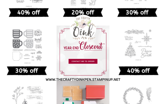 Stampin' Up! discounted products available from the Year End Closedout List and through Artisan Design Team Member 2019, Mikaela Titheridge, UK Independent Stampin' Up! Demonstrator, The Crafty oINK Pen. Supplies available through my online store 24/7
