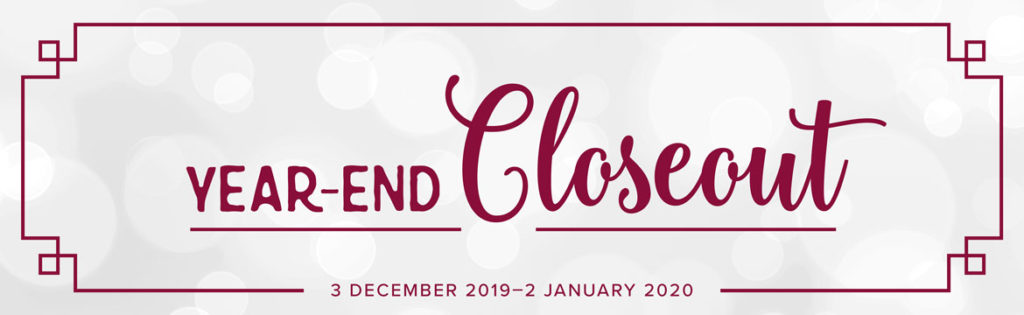 Year End Closeout and Carry Over List. Products available through Artisan Design Team Member 2019, Mikaela Titheridge, UK Independent Stampin' Up! Demonstrator, The Crafty oINK Pen. Supplies available through my online store 24/7