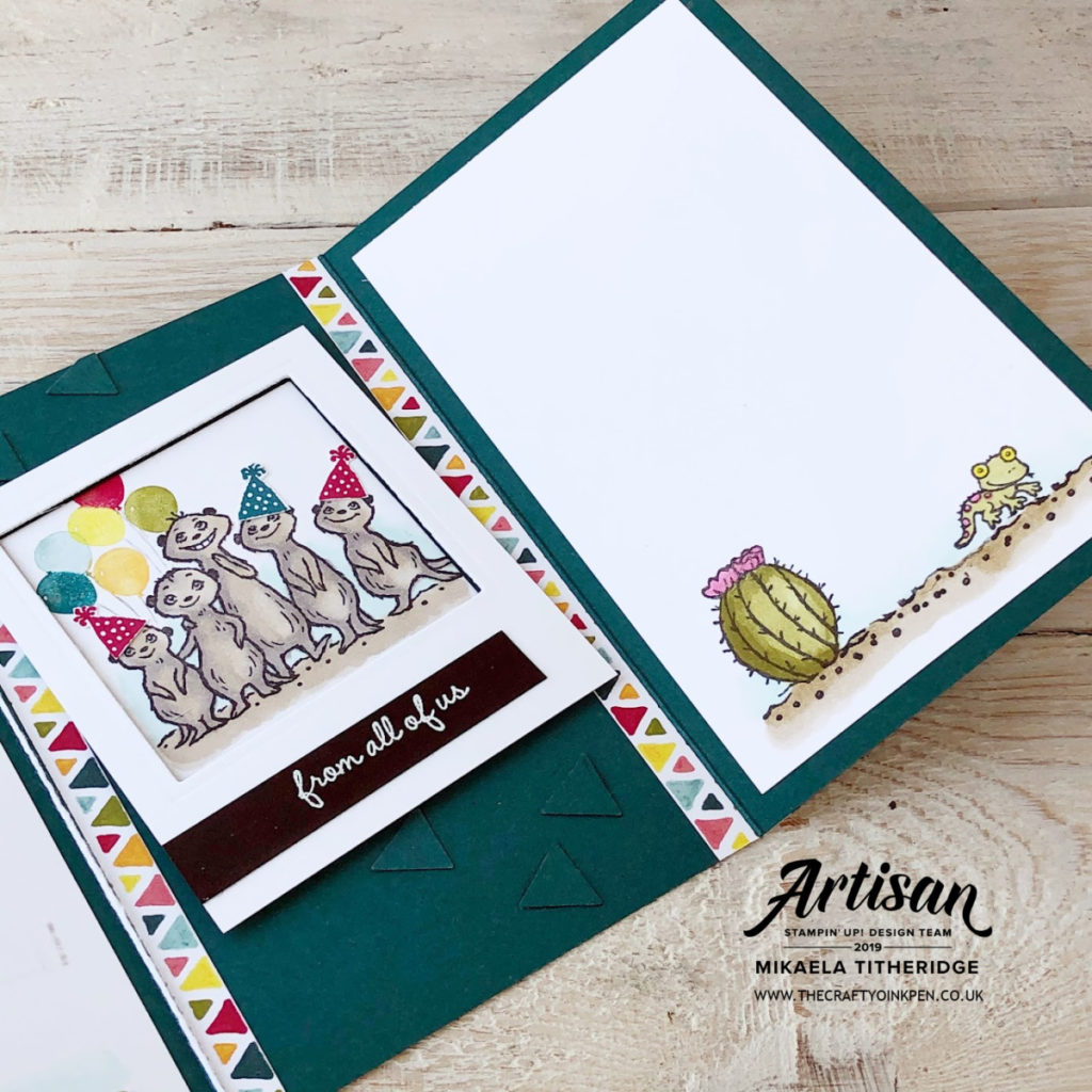 The Gang's All Meer, Meerkat Sale-a-Bration 2020 Sneak Peek Stamp Set that's FREE with a £45 spend and available from Artisan Design Team Member 2019, Mikaela Titheridge, UK Independent Stampin' Up! Demonstrator, The Crafty oINK Pen. Supplies available through my online store 24/7