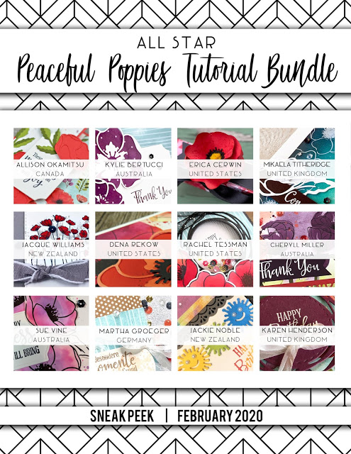 All Star Tutorial Bundle Sneak Peek for February 2020 Peaceful Poppies by Mikaela Titheridge, UK Independent Stampin' Up! Demonstrator, The Crafty oINK Pen. Supplies available through my online store 24/7