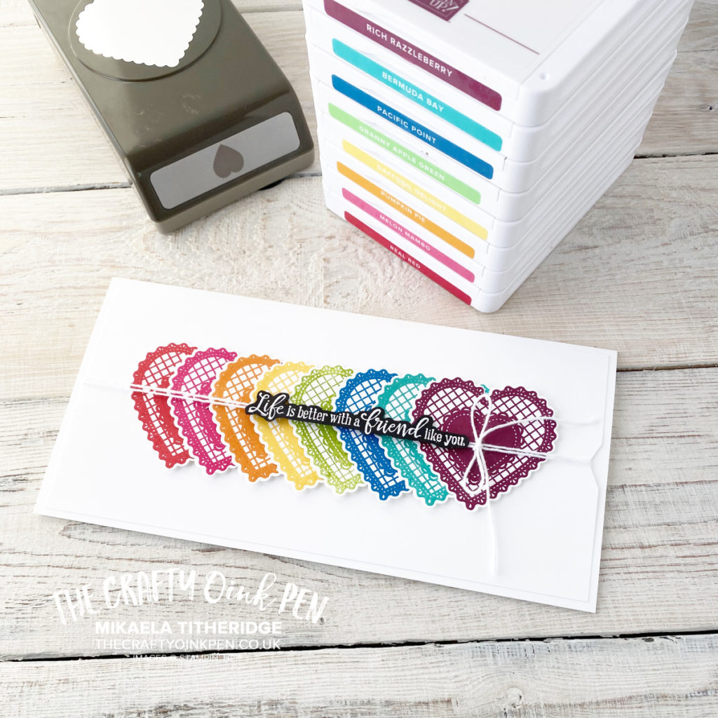 Heartfelt Bundle, Heartfelt Rainbow Friendship, Hearts of Friendship by Mikaela Titheridge, UK Independent Stampin' Up! Demonstrator, The Crafty oINK Pen. Supplies available through my online store 24/7