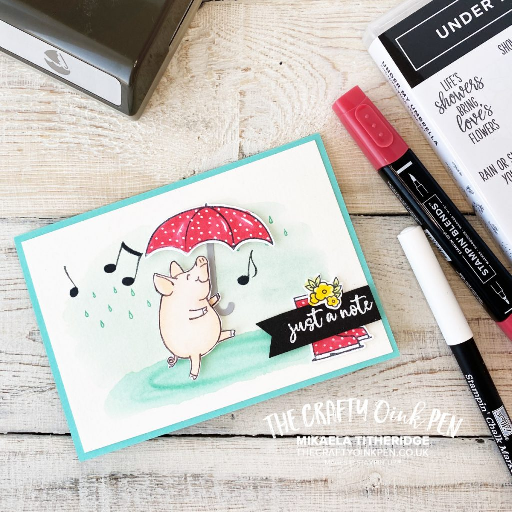 This Little Piggy is Under my Umbrella by Mikaela Titheridge, UK Independent Stampin' Up! Demonstrator, The Crafty oINK Pen. Supplies available through my online store 24/7