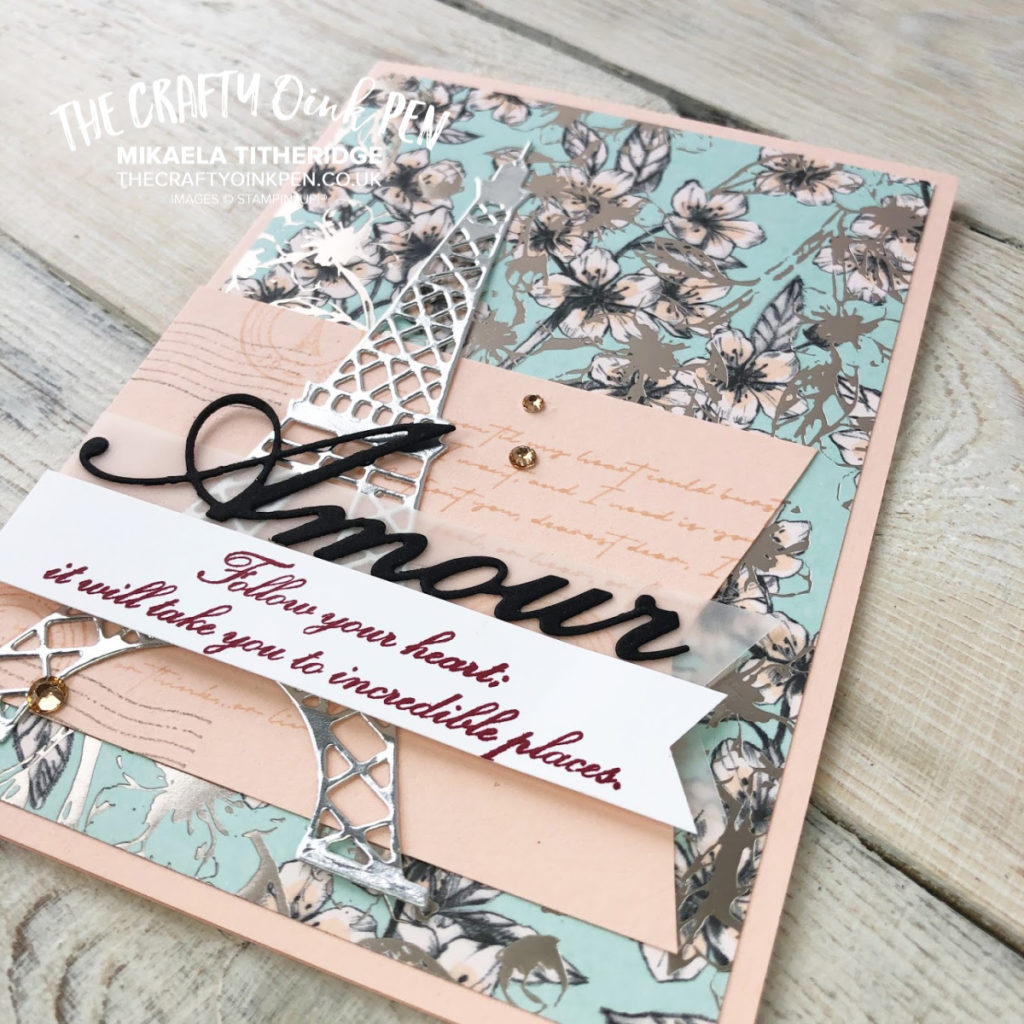 Parisian Blossoms Suite and a card made using Parisian Beauty Bundle and Parisian Blossoms Specialty Designer Series Paper by Mikaela Titheridge, UK Independent Stampin' Up! Demonstrator, The Crafty oINK Pen. Supplies available through my online store 24/7