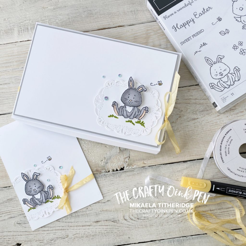 Welcome Easter for some New Beginnings of the #letsgethopping27 hop. A cute Baby Card and Gift Box to package a BabyGrow for a newborn baby by Mikaela Titheridge, UK Independent Stampin' Up! Demonstrator, The Crafty oINK Pen. Supplies available through my online store 24/7