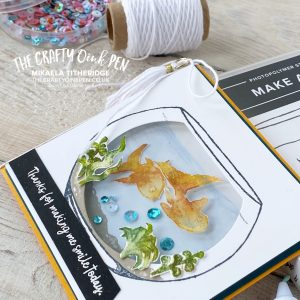 Make a Splash Host Set creates this Fish Bowl Shaker Card by Mikaela Titheridge, UK Independent Stampin' Up! Demonstrator, The Crafty oINK Pen. Supplies available through my online store 24/7