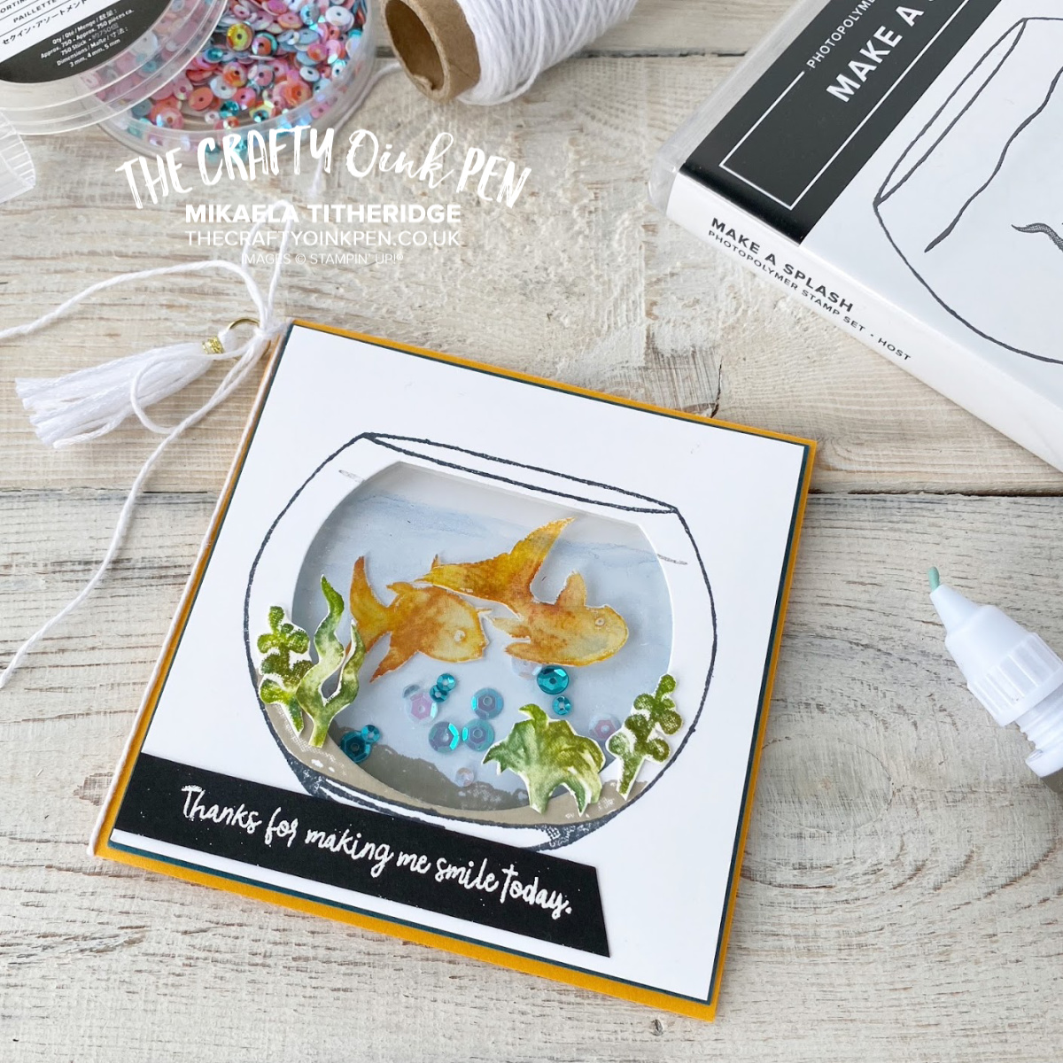 Make a Splash Host Set creates this Fish Bowl Shaker Cards by Mikaela Titheridge, UK Independent Stampin' Up! Demonstrator, The Crafty oINK Pen. Supplies available through my online store 24/7
