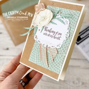 CASE Shelli from So Shelli blog. Peaceful Poppies with Mosaic Mood Designer Series Paper for a matching Kraft Box and Card by Mikaela Titheridge, UK Independent Stampin' Up! Demonstrator, The Crafty oINK Pen. Supplies available through my online store 24/7