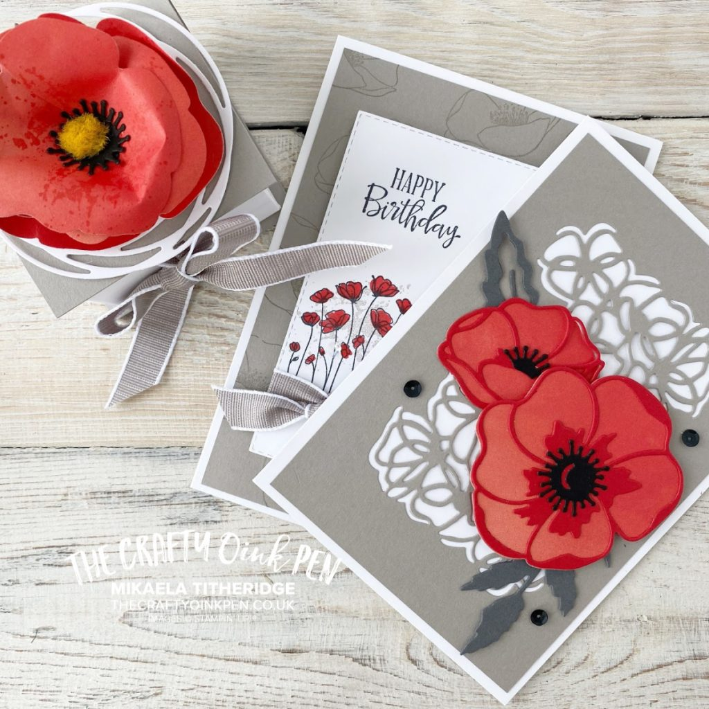 Papercraft Class using Peaceful Poppies and Gray Granite for cards and a gift box by Mikaela Titheridge, UK Independent Stampin' Up! Demonstrator, The Crafty oINK Pen. Supplies available through my online store 24/7