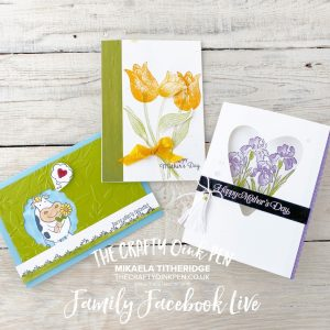 Papercrafting fun with the Family Facebook Live using Inspiring Iris, Timeless Tulips and Over the Moon by Mikaela Titheridge, UK Independent Stampin' Up! Demonstrator, The Crafty oINK Pen. Supplies available through my online store 24/7