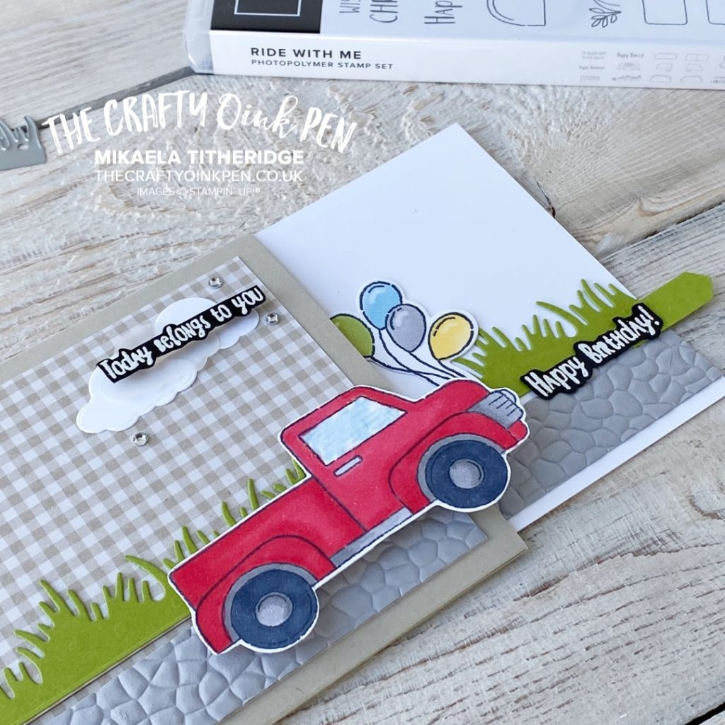 Ride with Me Interactive Slider Card for the Creation Station Blog Hop March 2020 by Mikaela Titheridge, UK Independent Stampin' Up! Demonstrator, The Crafty oINK Pen. Supplies available through my online store 24/7