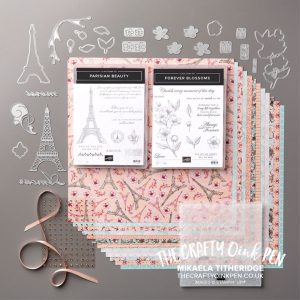 Buy your Parisian Blossom Suite Products through me and earn yourself a FREE copy of the Tutorial Bundle March 2020. Twelve tutorials in one PDF Download by Mikaela Titheridge, UK Independent Stampin' Up! Demonstrator, The Crafty oINK Pen. Supplies available through my online store 24/7