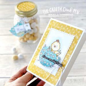 Welcome Easter chick with Dino Dies. Easter egg Kilner Jar and Card by Mikaela Titheridge, UK Independent Stampin' Up! Demonstrator, The Crafty oINK Pen. Supplies available through my online store 24/7