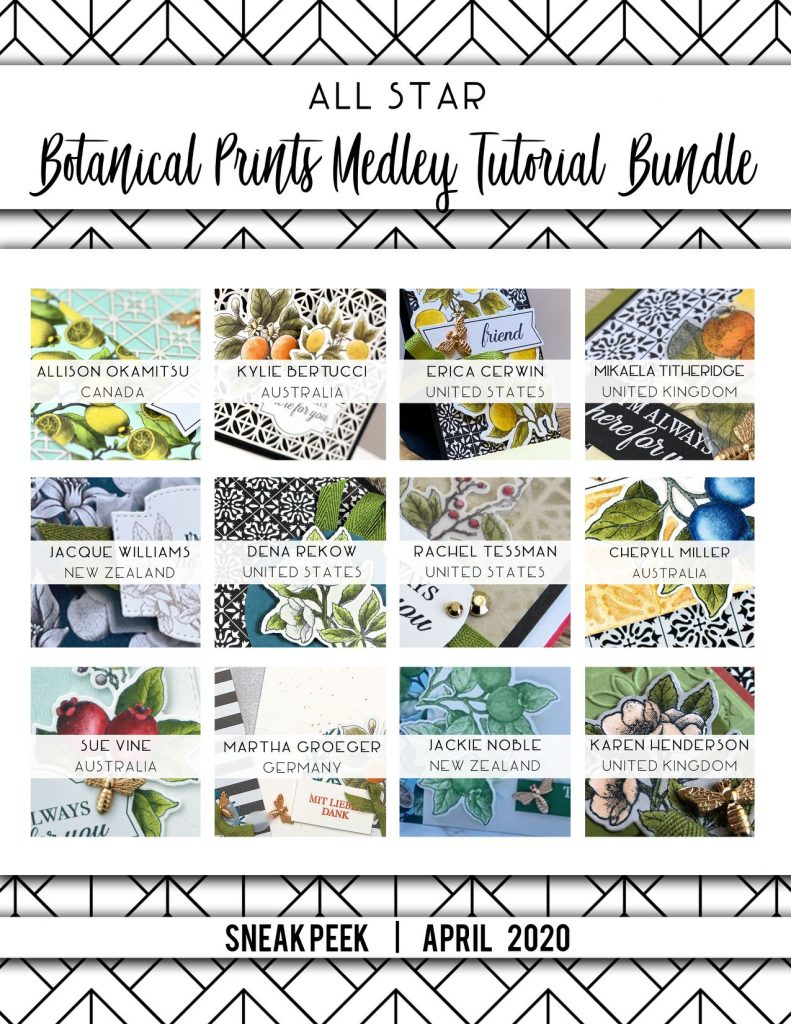 All Star Tutorial Bundle - ASTB - Botanical Prints Product Medley. Twelve Tutorials including Video purchasable from Mikaela Titheridge, UK Independent Stampin' Up! Demonstrator, The Crafty oINK Pen. Supplies available through my online store 24/7