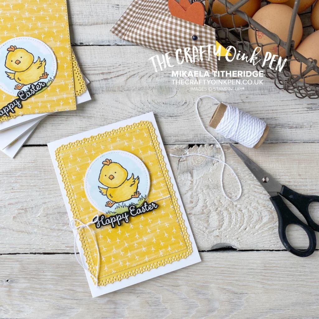 Welcome Easter Card and 3D Sour Cream container Chick by Mikaela Titheridge, UK Independent Stampin' Up! Demonstrator, The Crafty oINK Pen. Supplies available through my online store 24/7
