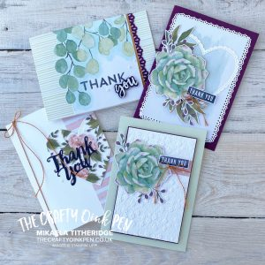 A Note of Thanks Card Kit with Altered Cards. All Inclusive Kit with Stamp Set and Ink ideal Gift by Mikaela Titheridge, UK Independent Stampin' Up! Demonstrator, The Crafty oINK Pen. Stampin' Up! Products available through my online UK store 24/7. Use my Shopping Code at checkout for personal rewards from me.