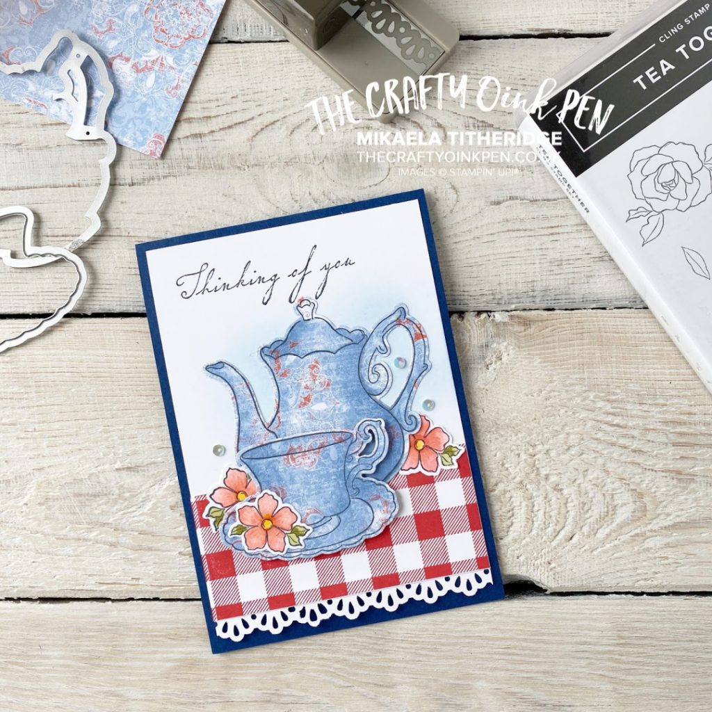 When you can't enjoy a cup of Tea Together with a friend, use the Tea Together stamp set and make them a card. This card shows the technique of Paper piecing by Mikaela Titheridge, UK Independent Stampin' Up! Demonstrator, The Crafty oINK Pen. Stampin' Up! Products available through my online UK store 24/7. Use my Shopping Code at checkout for personal rewards from me.