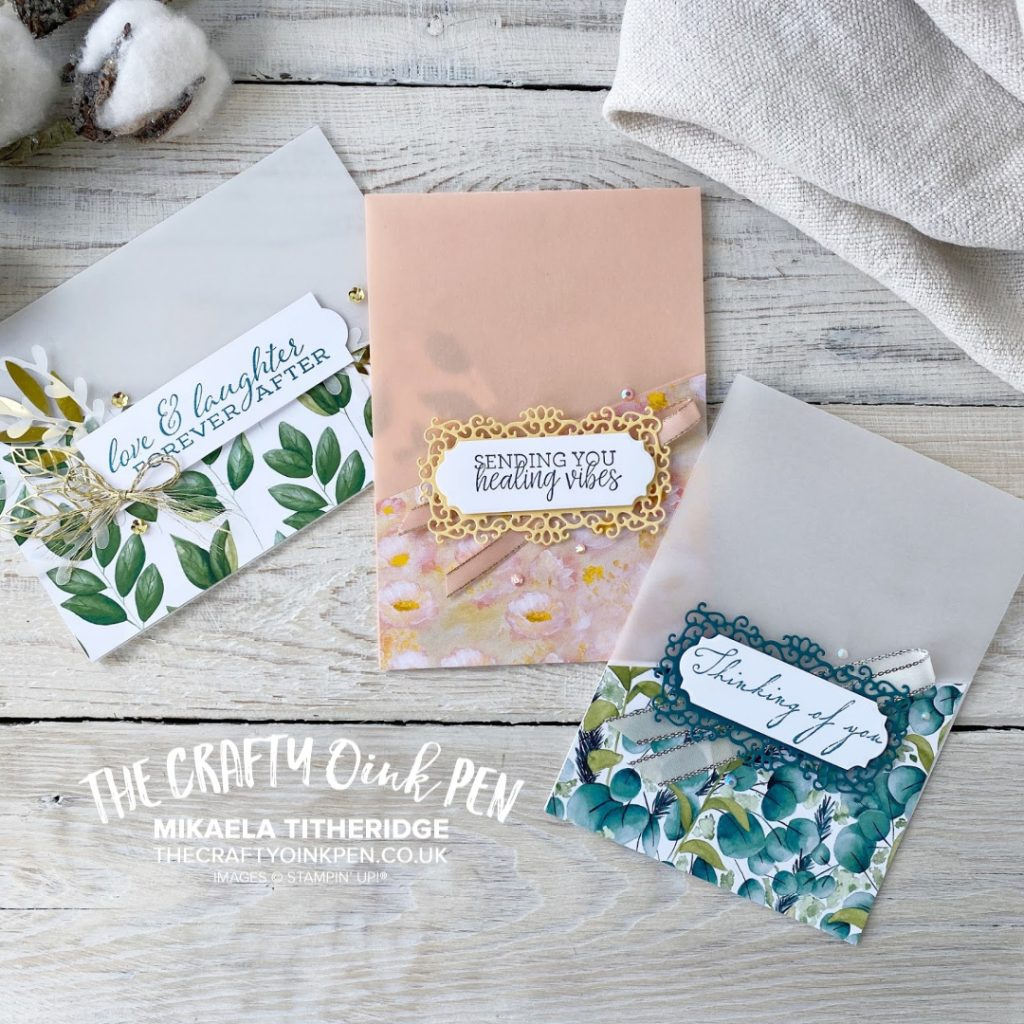 Forever Greenery Vellum Cards teamed with Forever Fern and Woven Heirloom, Plus Perennial Essence and Healing Hugs by Mikaela Titheridge, UK Independent Stampin' Up! Demonstrator, The Crafty oINK Pen. Stampin' Up! Products available through my online UK store 24/7. Use my Shopping Code at checkout for personal rewards from me.