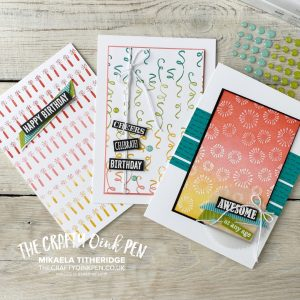 Itty Bitty Birthday Backgrounds for a Mad Hatters Colour Mash up by Mikaela Titheridge, UK Independent Stampin' Up! Demonstrator, The Crafty oINK Pen. Stampin' Up! Products available through my online UK store 24/7. Use my Shopping Code at checkout for personal rewards from me.