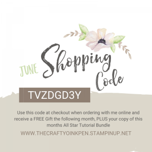 Shopping Code for Stampin' Up! products purchased in the UK through my online store Mikaela Titheridge, UK Independent Stampin' Up! Demonstrator, The Crafty oINK Pen. Stampin' Up! Products available through my online UK store 24/7. Use my Shopping Code at checkout for personal rewards from me.