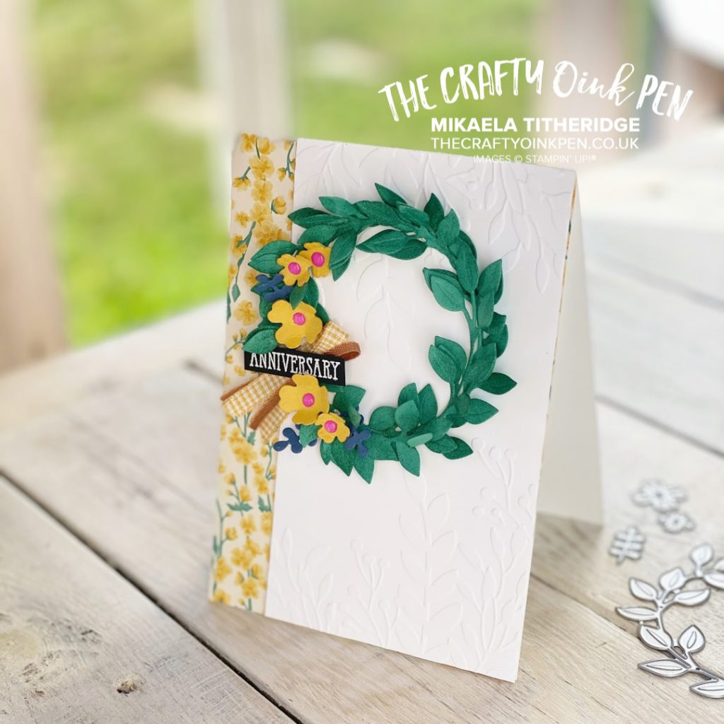 Arrange a Wreath of New In Colors. In Colours of 2020-2022 for an Anniversary card by Mikaela Titheridge, UK Independent Stampin' Up! Demonstrator, The Crafty oINK Pen. Stampin' Up! Products available through my online UK store 24/7. Use my Shopping Code at checkout for personal rewards from me.