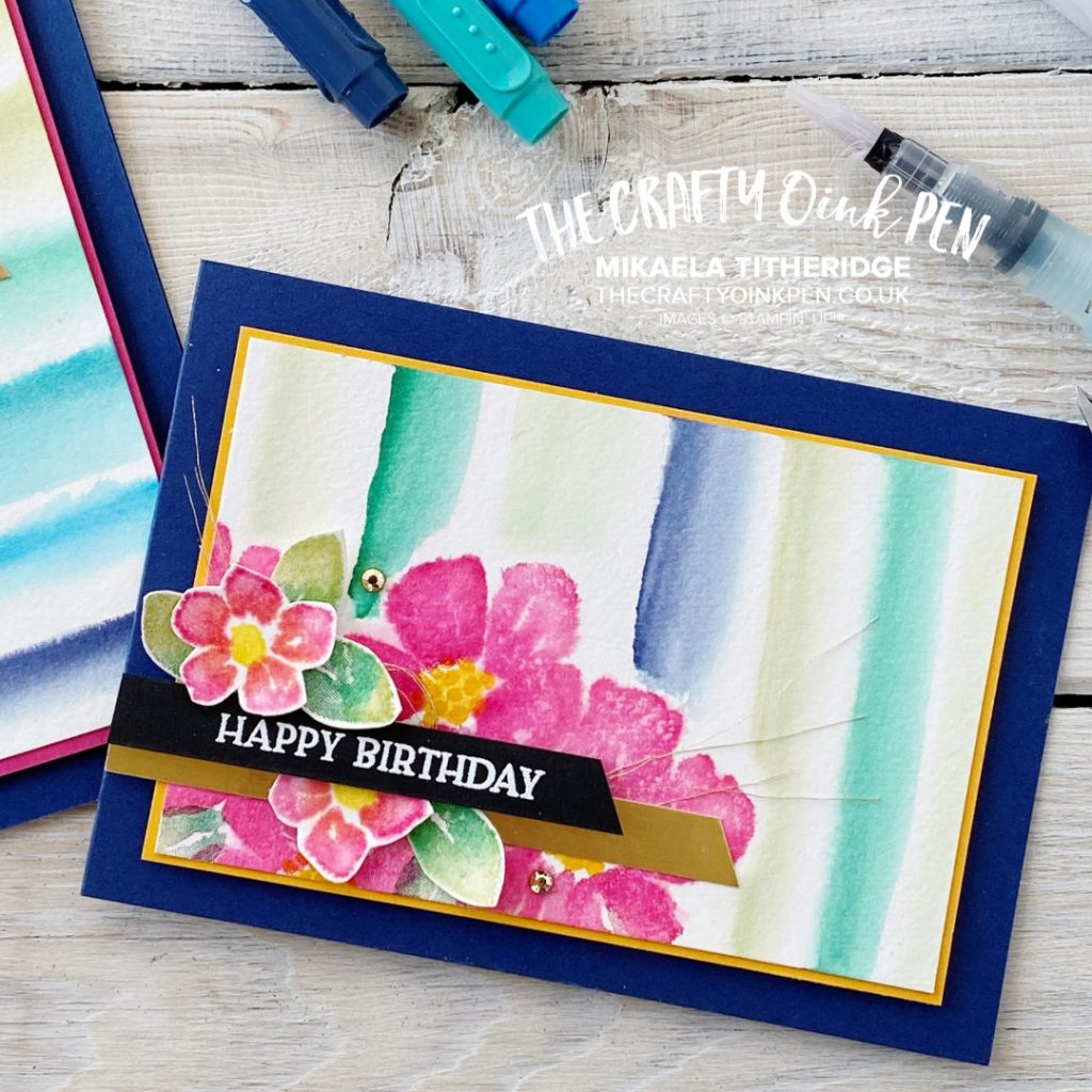 Blossoms in Bloom from the new 2020-2021 Annual Catalogue and some fun Watercolour Stripes for a vibrant and cheerful cards by Mikaela Titheridge, UK Independent Stampin' Up! Demonstrator, The Crafty oINK Pen. Stampin' Up! Products available through my online UK store 24/7. Use my Shopping Code at checkout for personal rewards from me.