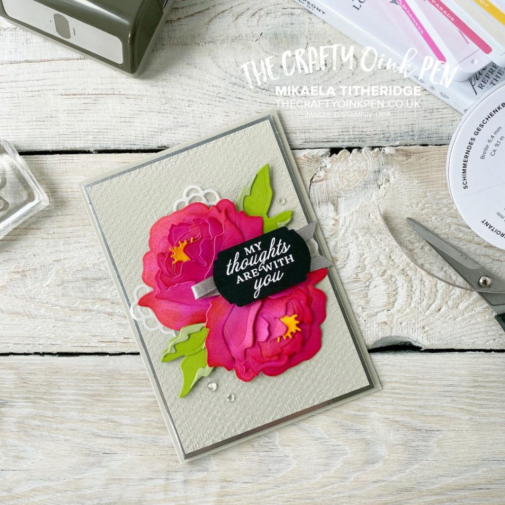 Sweet Suites Challenge by the Fancy Friday Team and the beautiful paper flowers from the Peony Garden Suite and this Prized Peony card by Mikaela Titheridge, UK Independent Stampin' Up! Demonstrator, The Crafty oINK Pen. Stampin' Up! Products available through my online UK store 24/7. Use my Shopping Code at checkout for personal rewards from me.
