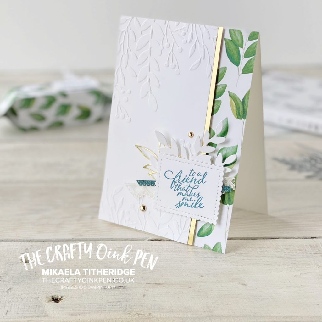 The Stampin' Up! New Catalogue Review with the OSAT crew and I share inspiration using the beautiful leaves of Forever Greenery with a card and treat box by Mikaela Titheridge, UK Independent Stampin' Up! Demonstrator, The Crafty oINK Pen. Stampin' Up! Products available through my online UK store 24/7. Use my Shopping Code at checkout for personal rewards from me.