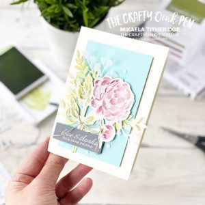 New Product, Prized Peony Bundle from the new Annual Catalogue and the Peony Garden Suite. A watercolored flower by Mikaela Titheridge, UK Independent Stampin' Up! Demonstrator, The Crafty oINK Pen. Stampin' Up! Products available through my online UK store 24/7. Use my Shopping Code at checkout for personal rewards from me.