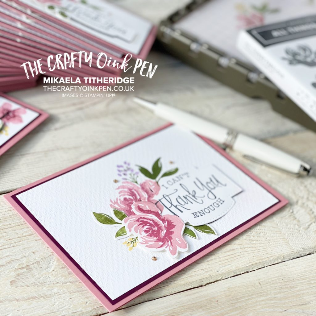 All Things Fabulous for my Facebook Live using our Stamp Positioning Tool, the Stamparatus. With multi platforms, it makes three step stamping these flowers a breeze for making some floral Thank you cards by Mikaela Titheridge, UK Independent Stampin' Up! Demonstrator, The Crafty oINK Pen. Stampin' Up! Products available through my online UK store 24/7. Use my Shopping Code at checkout for personal rewards from me.