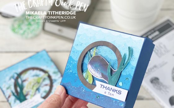 Whale Done with Whale of a Time help create this Shaker Box and Easel Card for the Around The World on Wednesday Blog Hop. Under the Sea, fish, turtles and a whale by Mikaela Titheridge, UK Independent Stampin' Up! Demonstrator, The Crafty oINK Pen. Stampin' Up! Products available through my online UK store 24/7. Use my Shopping Code at checkout for personal rewards from me.