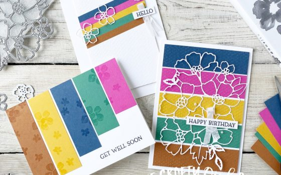In Colour Card Set using Blossoms in Bloom by Mikaela Titheridge, UK Independent Stampin' Up! Demonstrator, The Crafty oINK Pen. Stampin' Up! Products available through my online UK store 24/7. Use my Shopping Code at checkout for personal rewards from me.