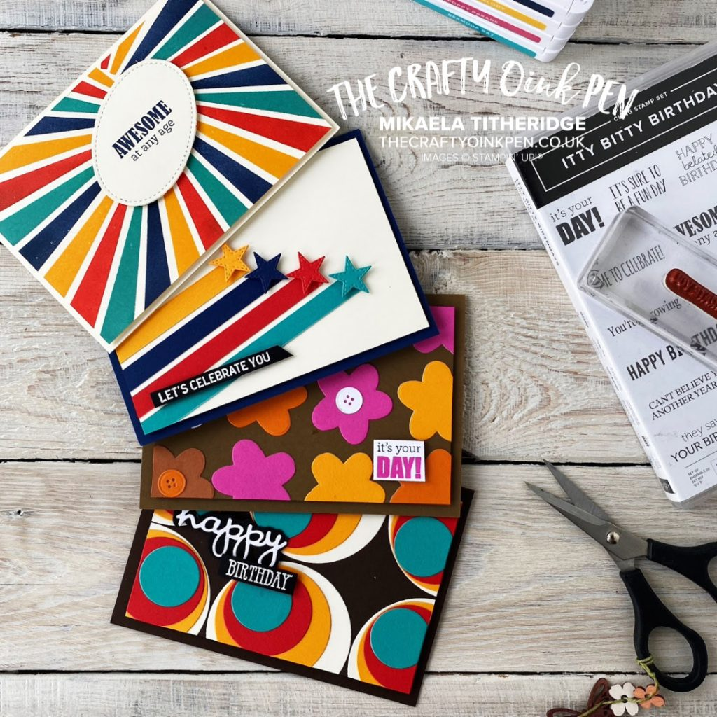 Retro Birthday cards using Itty Bitty Birthdays and several dies by Mikaela Titheridge, UK Independent Stampin' Up! Demonstrator, The Crafty oINK Pen. Stampin' Up! Products available through my online UK store 24/7. Use my Shopping Code at checkout for personal rewards from me.