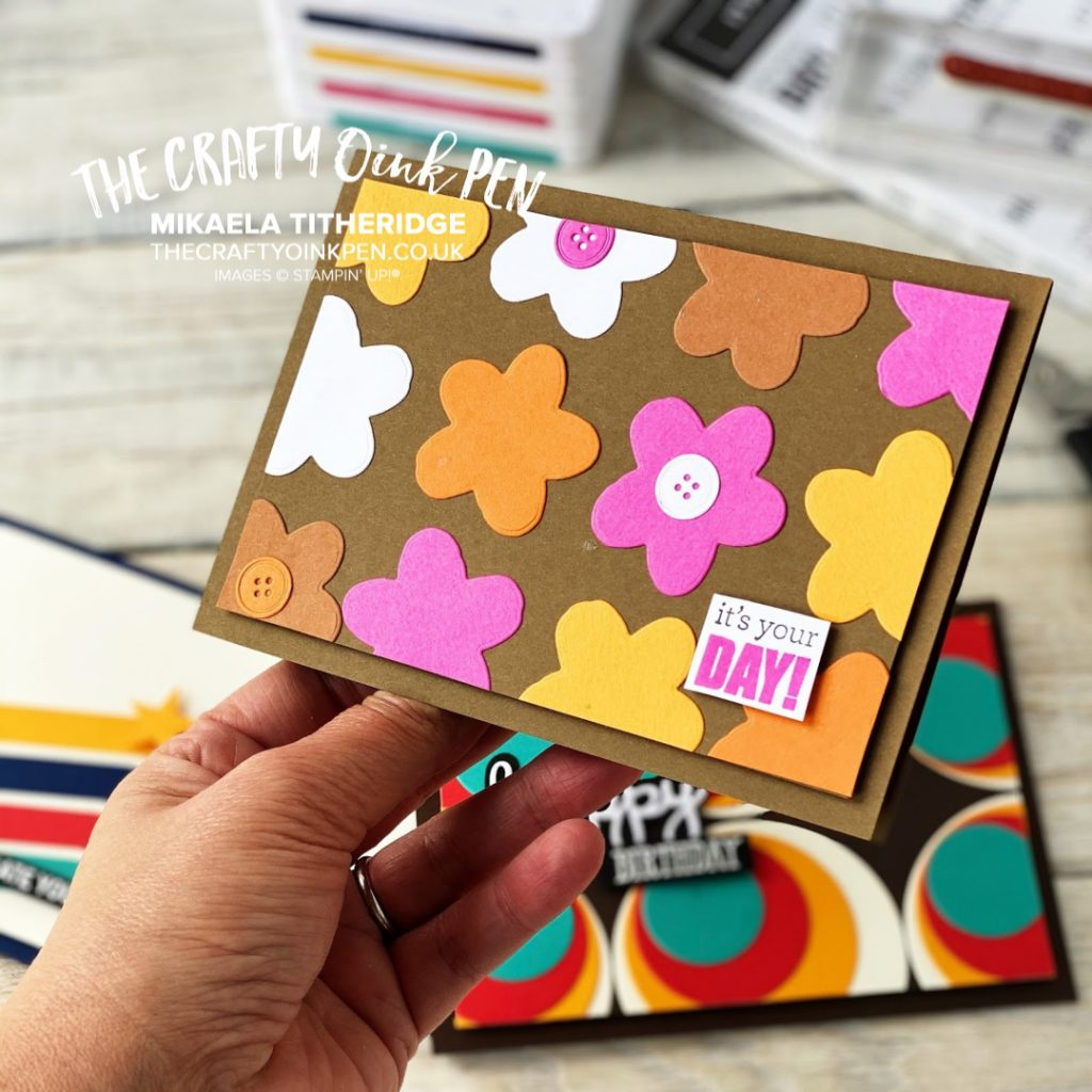 Retro Birthday fashions and fabrics inspired this Itty Bitty Birthday card using the flower die from In the Tropics by Mikaela Titheridge, UK Independent Stampin' Up! Demonstrator, The Crafty oINK Pen. Stampin' Up! Products available through my online UK store 24/7. Use my Shopping Code at checkout for personal rewards from me.