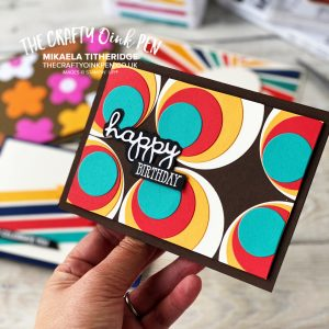 Layering Circles helped to create this Retro Birthday card by Mikaela Titheridge, UK Independent Stampin' Up! Demonstrator, The Crafty oINK Pen. Stampin' Up! Products available through my online UK store 24/7. Use my Shopping Code at checkout for personal rewards from me.