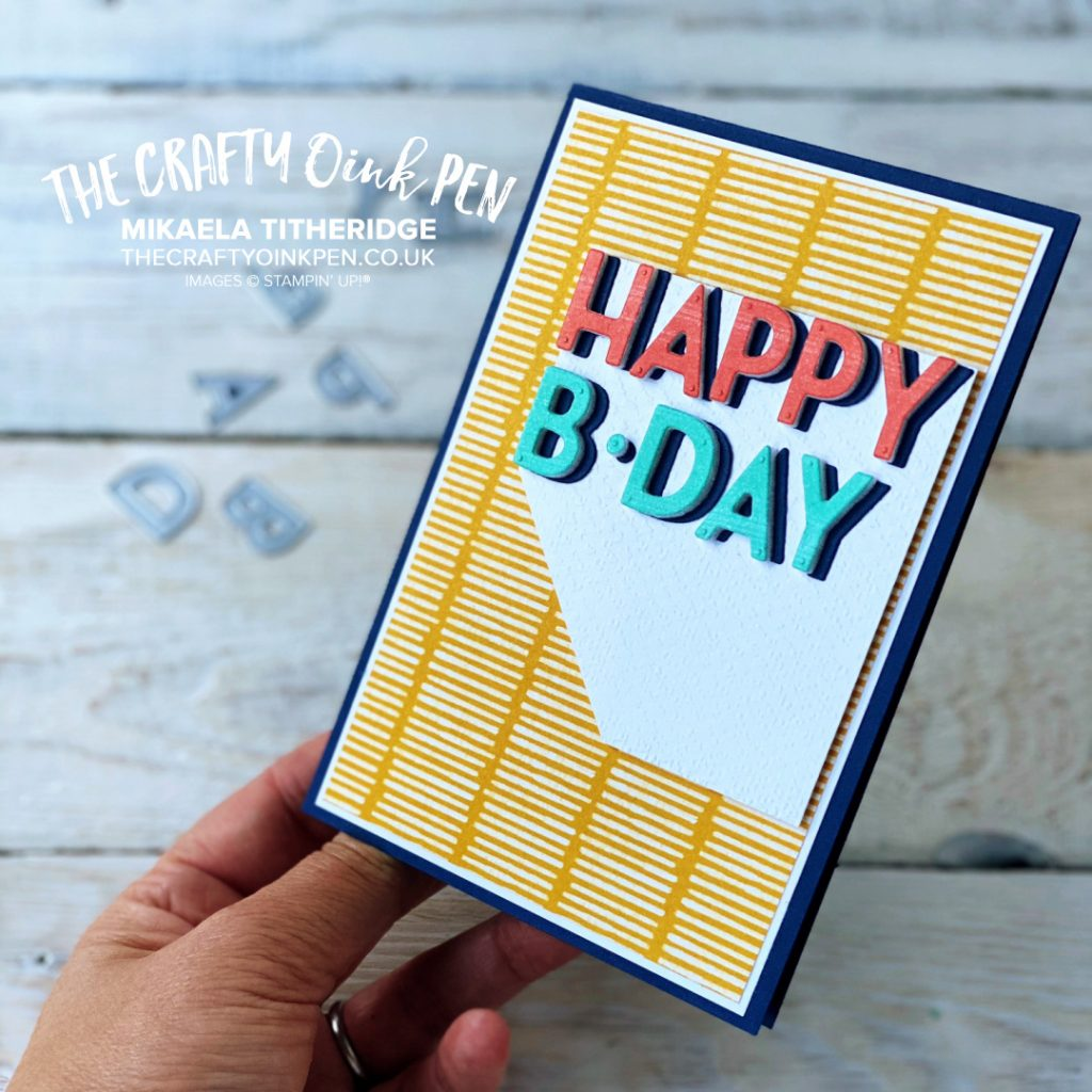 All Star Tutorial Bundle - Playful Patterns Suite for September 2020. Obtain your Tutorial Bundle Download here and see some inspiration using the Playful Alphabet Dies and Pattern Papers. A Contemporary Speech bubble style card by Mikaela Titheridge, UK Independent Stampin' Up! Demonstrator, The Crafty oINK Pen. Stampin' Up! Products available through my online UK store 24/7. Use my Shopping Code at checkout for personal rewards from me.