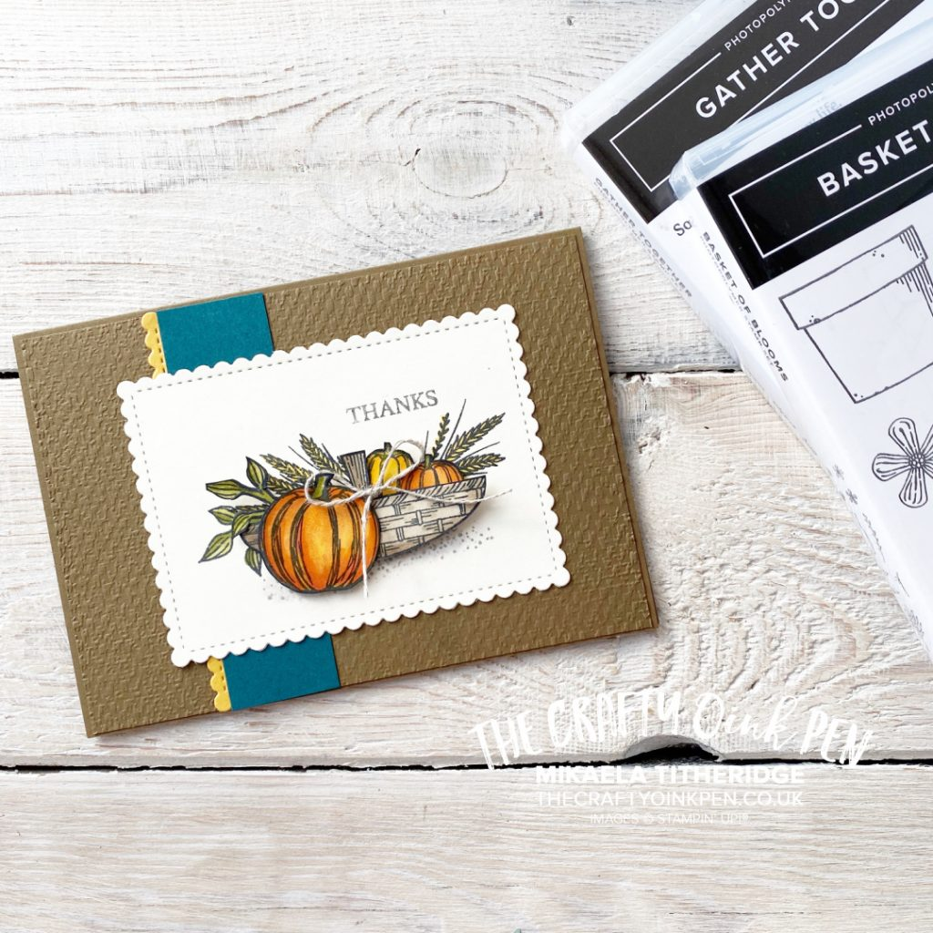 Gather Together a Basket of Blooms or a truckle of Pumpkins for an Autumn Fall Thank you card by Mikaela Titheridge, UK Independent Stampin' Up! Demonstrator, The Crafty oINK Pen. Stampin' Up! Products available through my online UK store 24/7. Use my Shopping Code at checkout for personal rewards from me.